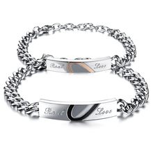 One set His and Hers Bracelet s  Anniversary Gift Stainless Steel Jewelry  Split Heart Couple Bracelets Bangles For Lovers(China (Mainland))