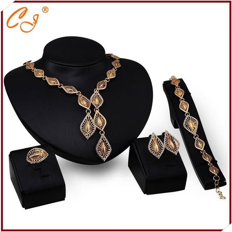 2015 Yiwu Fashion Jewelry Dropshipping Service Multi Address Order Distributor 18K Jewelry Set Gold(China (Mainland))