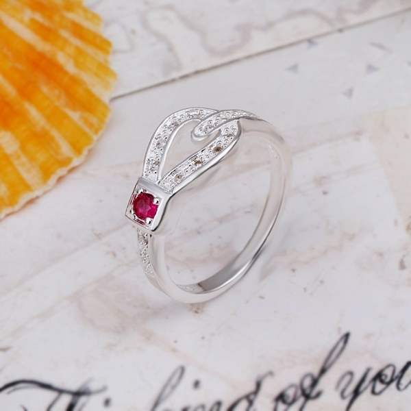 New Arrival! R298 High Quality Fashion Jewelry 925 Silver Red Austrian Crystal Charm Ring For Women+Free Shipping