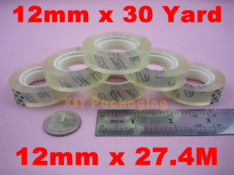 10 Rolls Clear Packing Scotch Tape Stationery Crystal Sellotape 12mm x 30yard_1 Core<br><br>Aliexpress