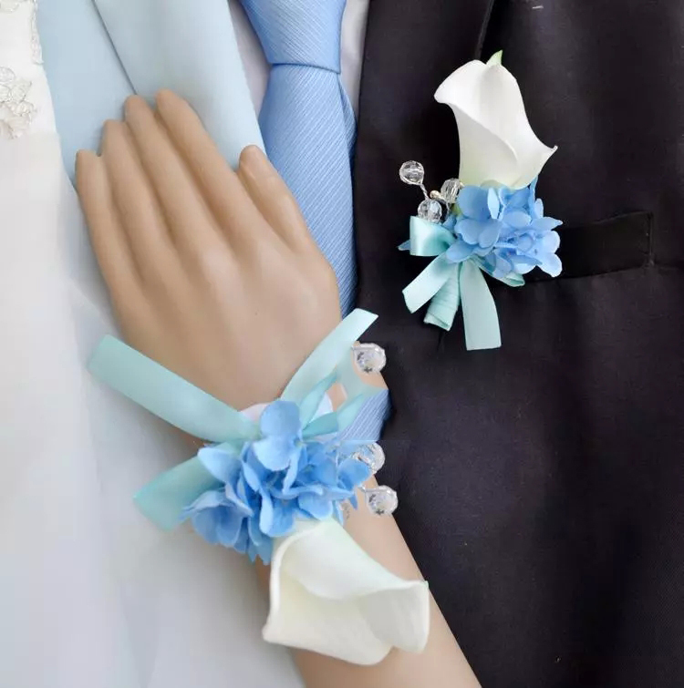 lily Blue Hydrangea Corsage Groom Boutonniere Or Bridal Wrist Flower ... Blue Hydrangea Boutonniere