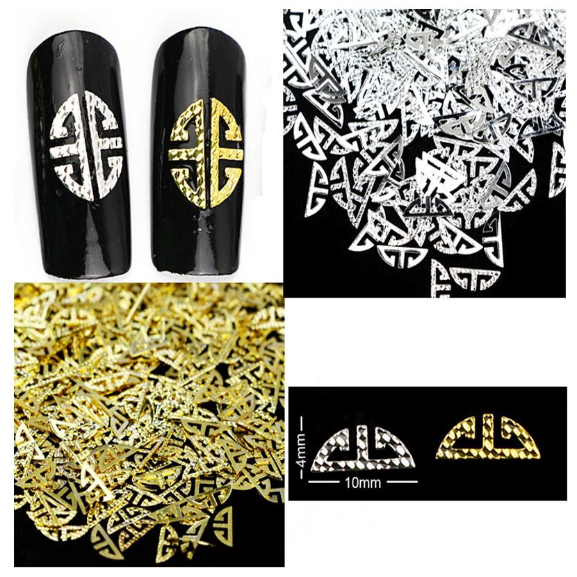 500pcs/set Japan Harajuku Mix Gold Silver Pierced Metal Nail Sticker 3D Metallic Art Nail Decoration Manicure Acrylic Tips(China (Mainland))