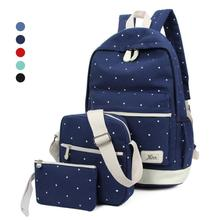 Buy fresh Canvas Women Backpack big girl student book bag purse laptop 3pcs set high ladies school bag teenager N4 for $20.13 in AliExpress store