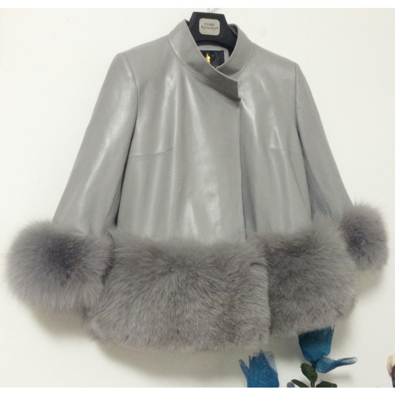 Winter Women Leather & Faux Fox Jacket Coats Silver Fox Women Faux Hot Sales Faux Chinchilla Furry Shaggy Woman Leather Jacket()