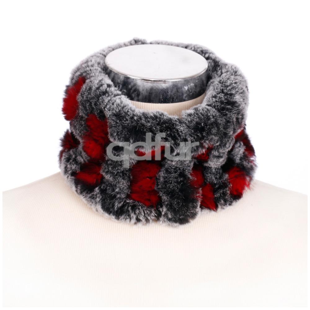 2016 Handmade Genuine Multi-color Knitted Rex Rabbit Fur Scarf Wrap Winter Women Fur Ring Neckchief Mufflers Headband QD30443(China (Mainland))