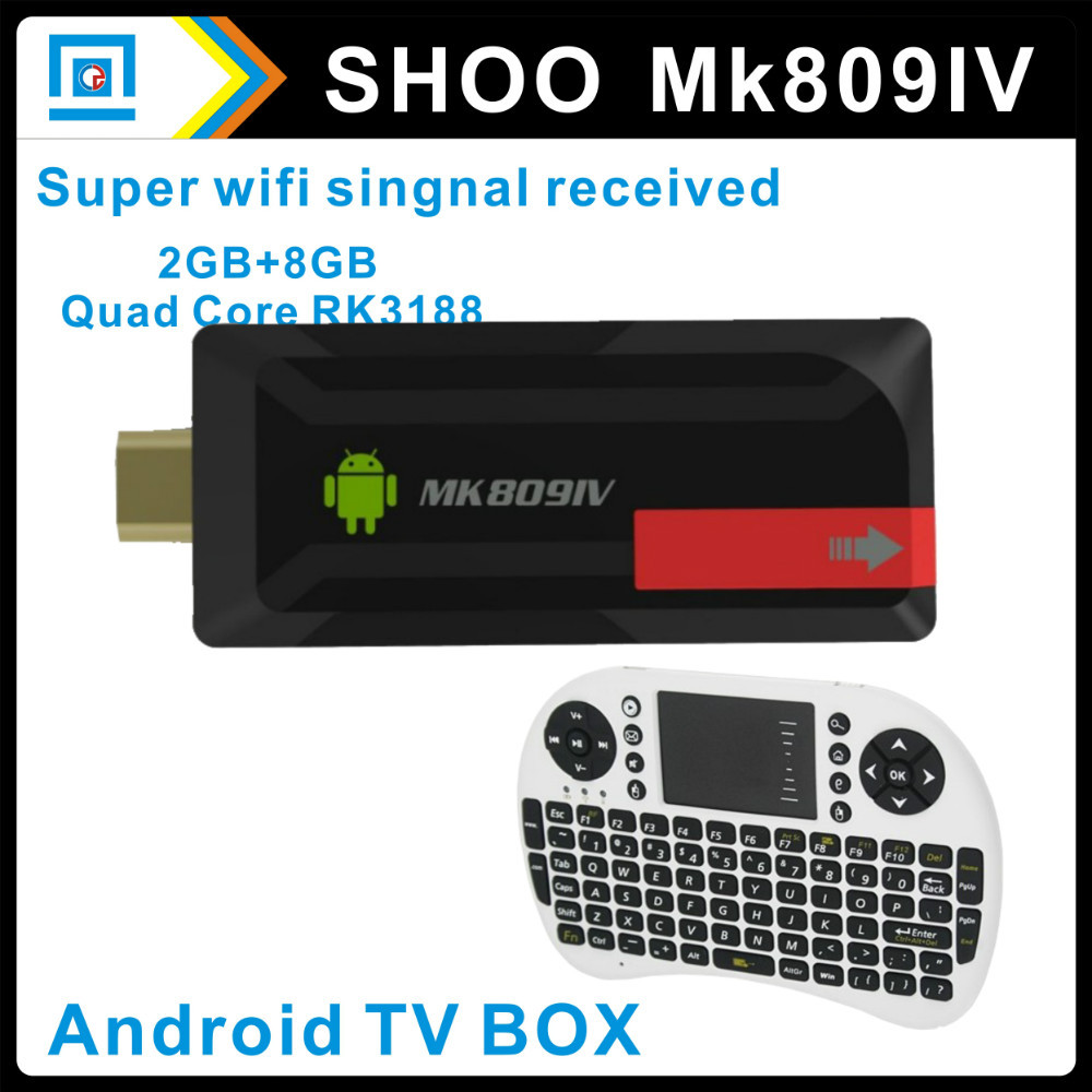 MK809 IV RK3188 Quad Core Cortex A9 Mini PC TV dongle Smart Android 4.2.2 Stick HDMI MK809IV + Keyboard UKB500 I8 - miaoqing chow's store