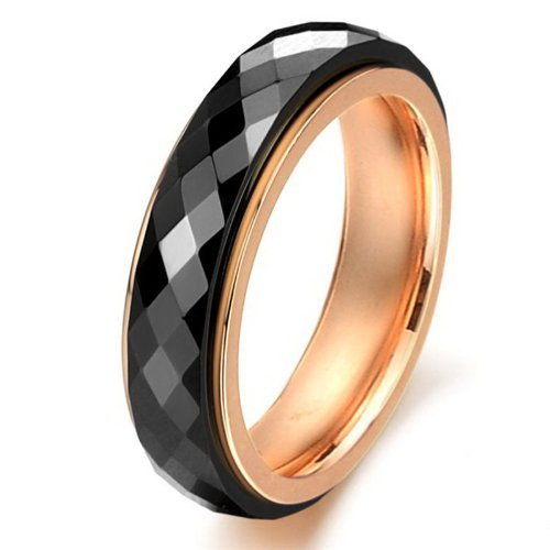 Tungsten Black & Rose Gold Colour Mens Wedding Ring Size 5 8 in Rings fro