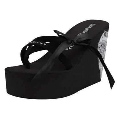 2015 New Arrived 11cm High Heel Slippers Female Super-Elevation Flip Flops Wedges Bow Woman Sandals(China (Mainland))