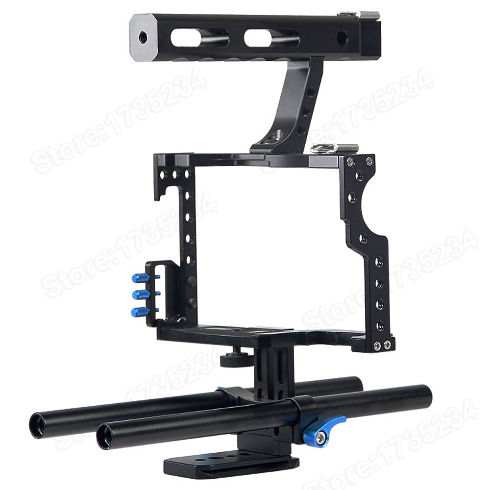 NEW Professional Handle Grip DSLR Rig Stabilizer Video Camera Cage For Sony Alpha A7S A7 A7R A7RII A7SII Panasonic Lumix DMC GH4<br>