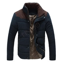 2pcs/lot New Men Winter Jacket Warm Wadded Jacket Cotton-padded long sleeve coat Slim Fitted Thicken Coat Outerwear 12
