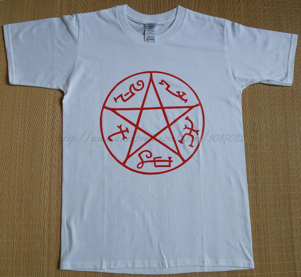 white size XS Supernatural Devil's Trap Pentagram star sign Dean Sam Winchester man sports T-shirt(China (Mainland))