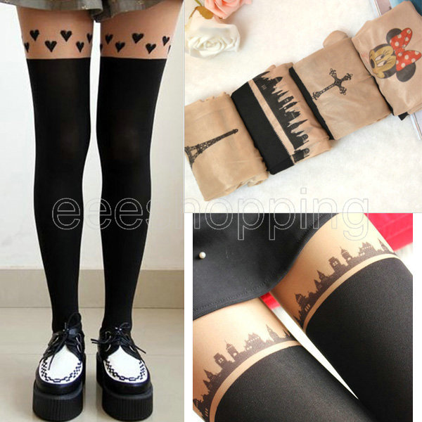 2015 donne sexy del fumetto cat tail love heart poker towercross bunny ginocchio nero nude calze collant tattoo collant calza q509(China (Mainland))