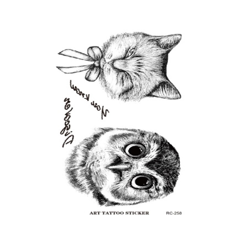 RC2258 Owl Tattoo Disposable 3d Waterproof Body Art Arm Hand Cat temporary Tatoo Stickers Wholesale Paste Pattern(China (Mainland))