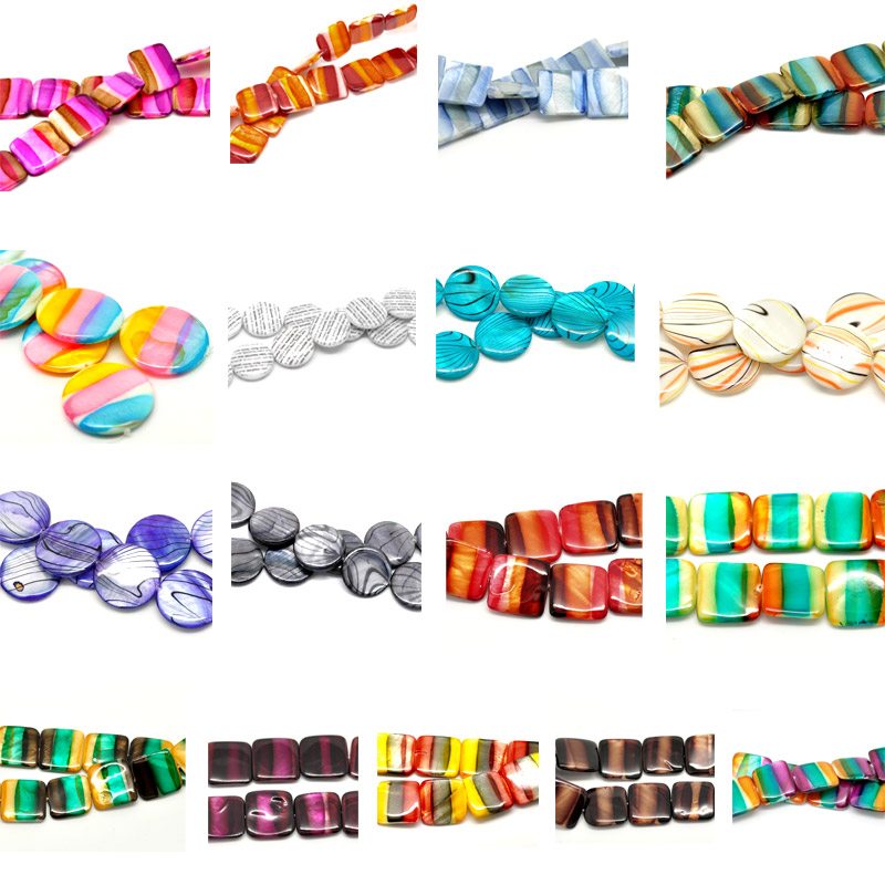 1 Strand Shell Loose Beads Striped Multicolor M1272 2016 new(China (Mainland))