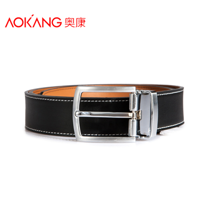 Aokang Double Genuine Leather Belts For Men Cowskin Pin Buckle Leather Designer Mens Belt Black Blue