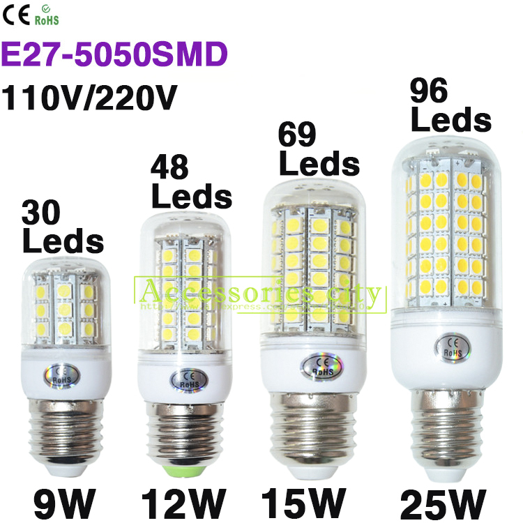 2015 E27 Led Lamps 5050 SMD 220V 110V 9W 12W 15W 25W LED Lights Corn Led Bulb lampada led Chandelier Candle Lighting 1PCS/Lot(China (Mainland))