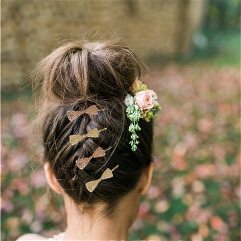 Ocean 2016 Gold bow knot HairPins Shears Clip For Hair Barrettes Headdress Vintage Simple women hair wedding jewelry(China (Mainland))