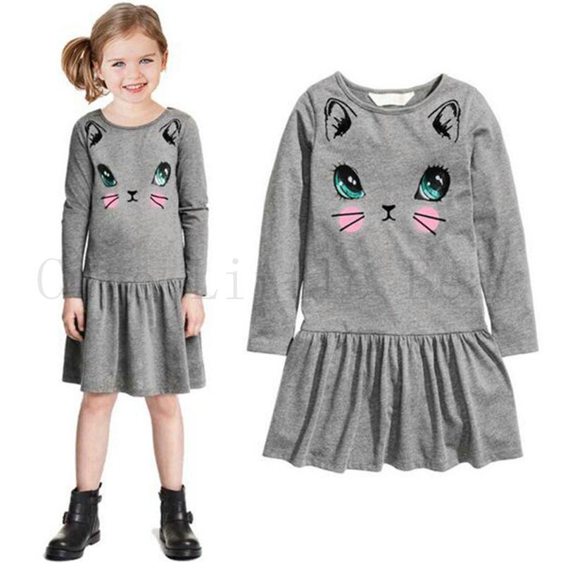 2016 Spring Autumn Fashion Kids baby girl dress cute cartoon Cat children Dress Long sleeve baby Clothes,lovely girls dress(China (Mainland))