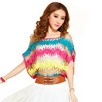 2014 women's short-sleeve cutout crochet sweater loose lace shirt