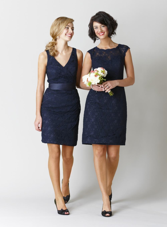 Popular Short Navy Blue Lace Bridesmaid Dresses-Buy Cheap Short ...