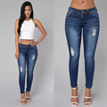 Summer sexy low waist womens slim fit full length denim pencil pants fashion personality ripped broken