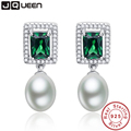 Emerald Fine Jewelry 925 sterling silver earrings Simulated Pearl Drop Earrings Brincos Boucle Oreille from india