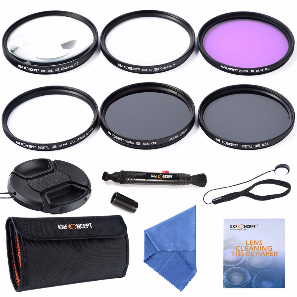 K&F Concept 52mm Slim UV CPL FLD ND4+Macro Close Up +4+10+ Cleaning kits Lens Filter For Nikon D7100 D5100 D3100 D3200 D7000(China (Mainland))