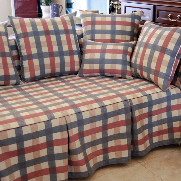 American Country Style Red Green Plaid Decorative Sofa Cover Loveseat Chair Funiture Cover For