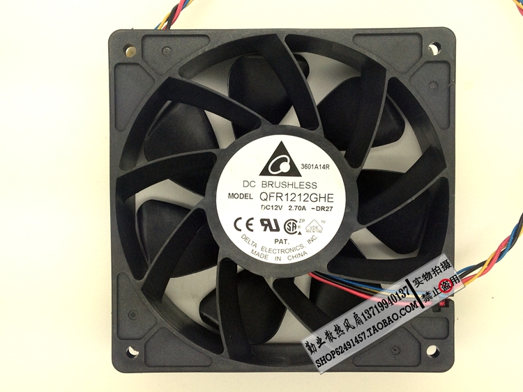 Delta QFR1212GHE 12V 2.70A 12038 12CM Bitcoin Miner FAN 12cm PWM Most Powerful for Bitcoin Mining(China (Mainland))