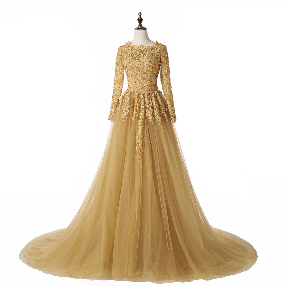 Gold wedding gowns with sleeves the for Gold vintage wedding dresses