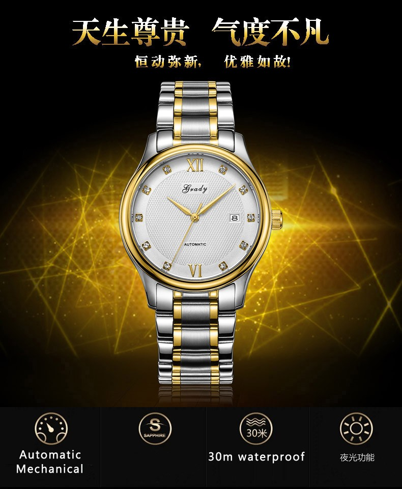 Грейди Автоматические Механические Часы Мужчины Luxury Brand Полная Сталь Скелет Мужчины Часы Календарь Водонепроницаемые Наручные Часы