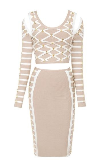 2015 new fashion casual elegance cheap gray with white strip two piece set long sleeve women sexy  evening party bandage DressОдежда и ак�е��уары<br><br><br>Aliexpress