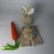 Newborn Photography Baby Props Bunny Crochet Costume Set Rabbit Hats+Pants Handmade Knit Newborn Outfits fotografia accessories(China (Mainland))