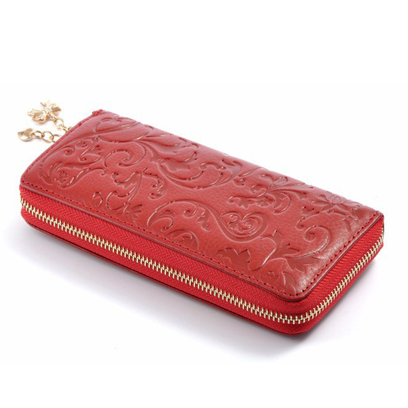 2015 hot ladies' delicate long purses fashion clutch embossing chain wallets vintage women genuine leather wallet(China (Mainland))