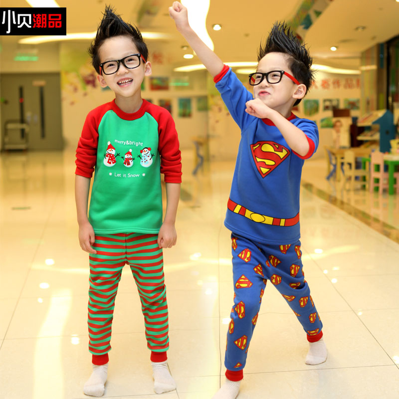 Free shipping thickening of male children baby winter underwear set xn01 children sleepwear velvet suit(China (Mainland))