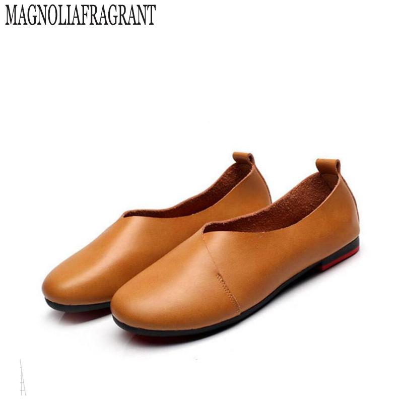 2017 Original Vintage Art handmade shoes Brand Genuine Leather Flats Women Shoes Shallow mouth Casual Fashion Women Shoes z297(China (Mainland))