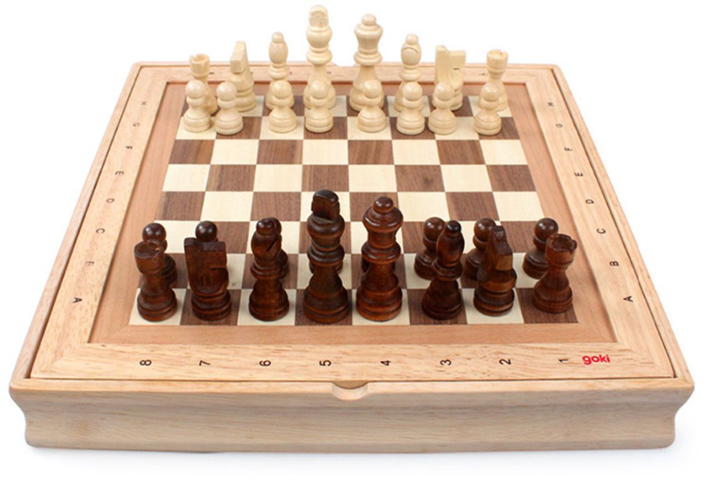 High quality solid wood standard international folding portable chess sets with chess pieces 2kg Free Shipping(China (Mainland))