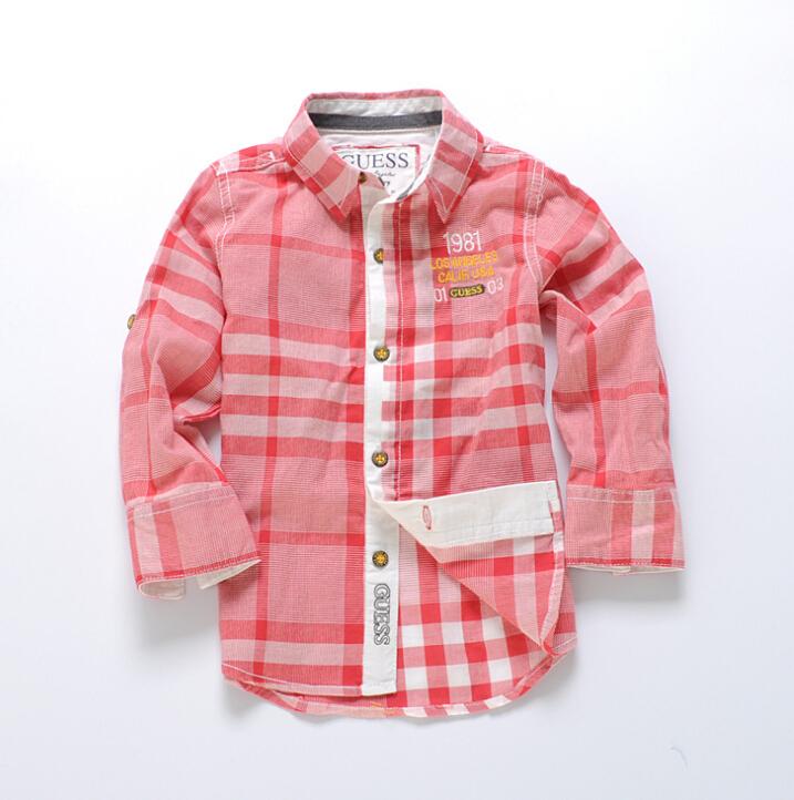 2015 New original single childrens clothes boys plaid shirts 2-10t baby Pure cotton long sleeve shirt<br><br>Aliexpress