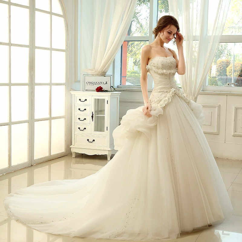 Strapless Ballkleid Two Piece Wedding Dress Short Front Long Back Ball Gown With Long Tulle Detachable Train Robe De Mariage(China (Mainland))