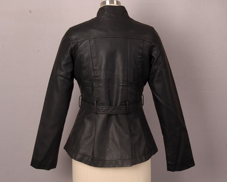 womens pu black jacket belt synthetic leather coat - Hangzhou Nicetop Textile Co., Ltd. store