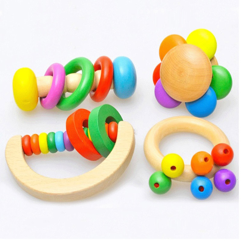 1PC Wooden Bell Rattle Toy Baby Handbell Musical Educational Instrument Rattles For Toddlers Babies juguetes bebes(China (Mainland))