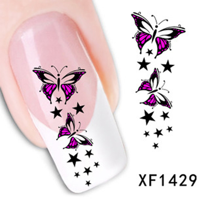 1Nail Decoration Trendy Colorful Star Nail Tips Water Decals Art Transfer Stickers Manicure - Wellcome sotre store