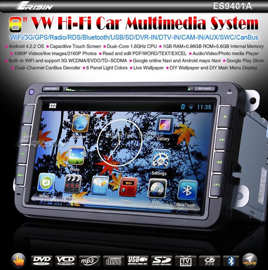 8 inch Android 4.2.2 Car DVD GPS Sat Nav OPS PASSAT GOLF TOURAN CADDY JETTA SEAT Dual-Core 1.6GHz/CanBus/WiFi/3G Stereo WBT9401A - WeBeStar Autoradio Shop store