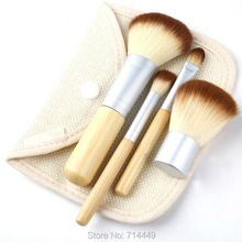 Hot 3Sets  Brushes Bamboo Makeup Environment-friendly Elaborate Makeup Brush 4pcs/Set Earth-Friendly Portable Easy to use