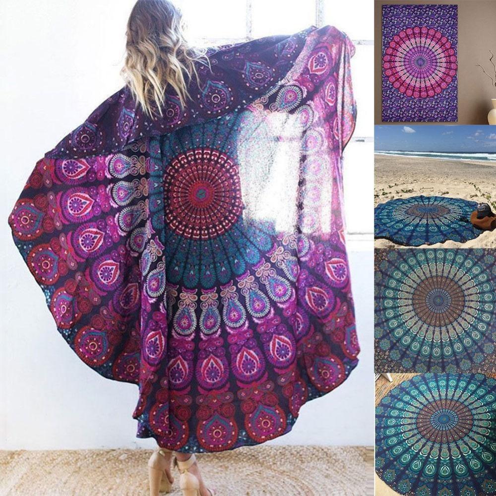 Woman scarf Beach Peacock Mandala Print Large Casual Fashion Pool Shower Tablecloth Towel Blanket beach wear Cover-Ups Scarves(China (Mainland))