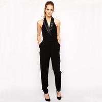 Женский комбинезон Jumpsuits new sem mulheres bolsos couro 2015 moda famosa marca primavera elegante elegante KZ5390