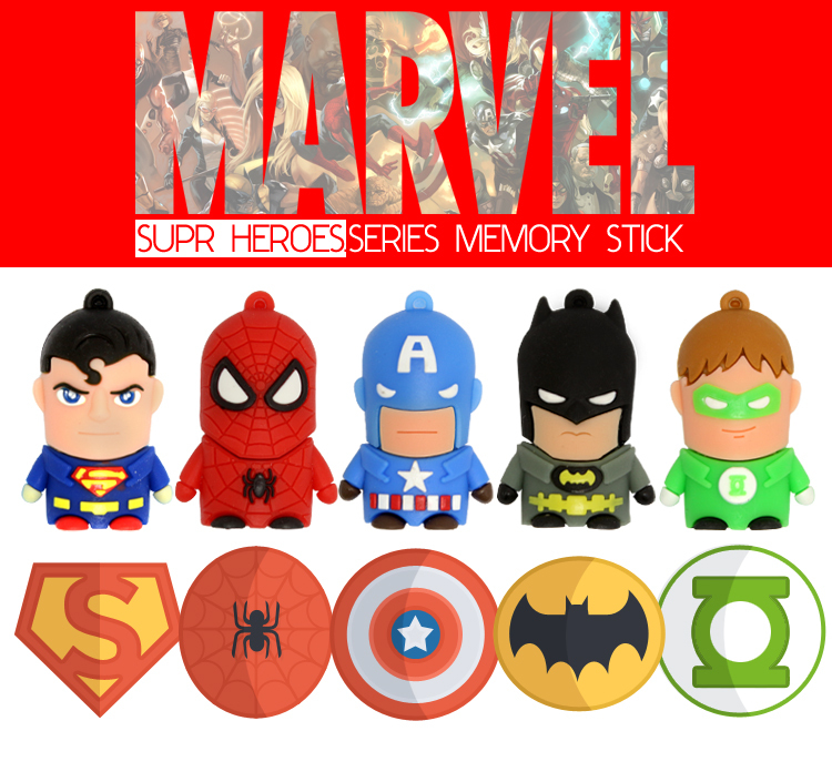 cartoon batman superman usb flash drive 32gb pen drive 8gb pendrive 16gb spiderman memory stick external storage free shipping(China (Mainland))