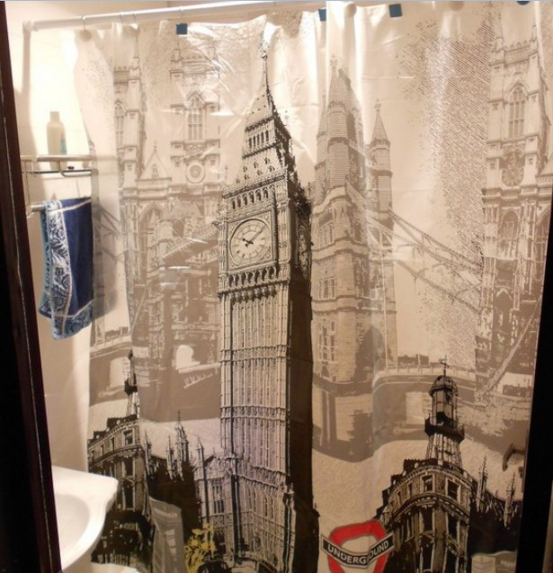 Free Sgipping Wholesale And Retail Promotion NEW Euro London Big Ben Pattern Bathroom PEVA Shower Curtain Waterproof W/ Hooks(China (Mainland))