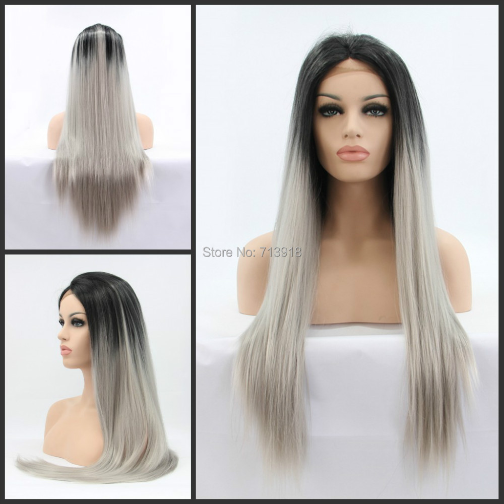 Silk Straight Gray Synthetic Lace Front Wig Glueless Ombre Tone Color Black And Grey Heat Resistant Hair Wigs/FREE SHIPPING Hot<br><br>Aliexpress
