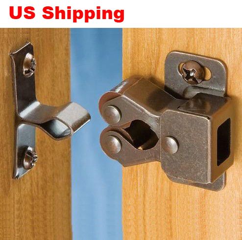 US Shipping 20pcs Double roller bronze plate door latch wardrobe catch kitchen cabinet cupboard(China (Mainland))